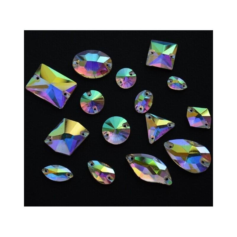 Rhinestone Round Crystal AB 10MM (10 pcs)