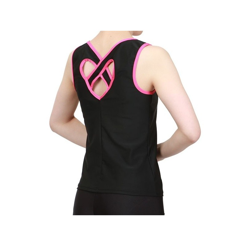 Heart Shaped Back Top colore Nero/Rosa Shocking