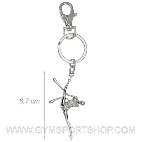 Keychains Gymnast Clubs and White Rhinestones