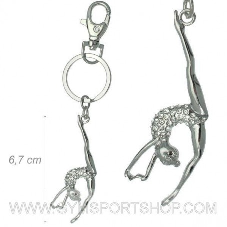 Keychains Gymnast and White Rhinestones
