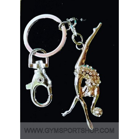 Metal Keychain Gymnast with ball and rhinestone