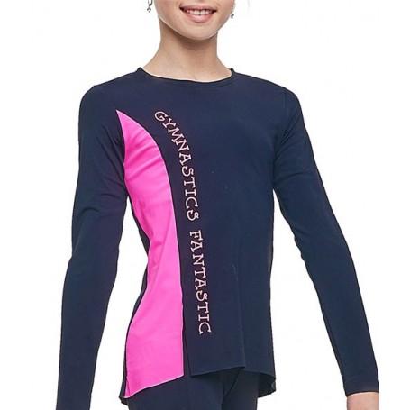 T-Shirt manica lunga Omega Nero-Rosa